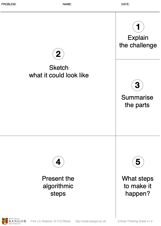 The parts of the Critical Thinking Sheet