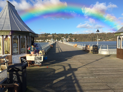 Bangor pier with rainbow