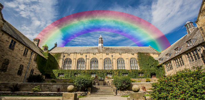 Bangor Campus PJ Hall with Rainbow