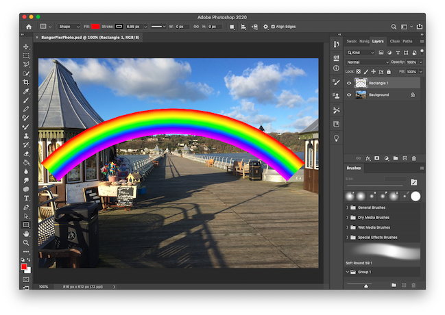 Editing a rainbow, making the arc