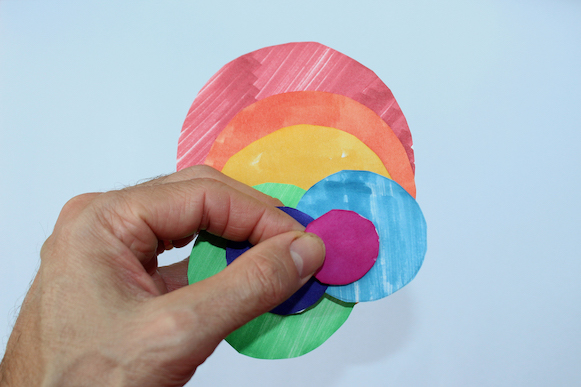 Mockup created by several coloured circles.