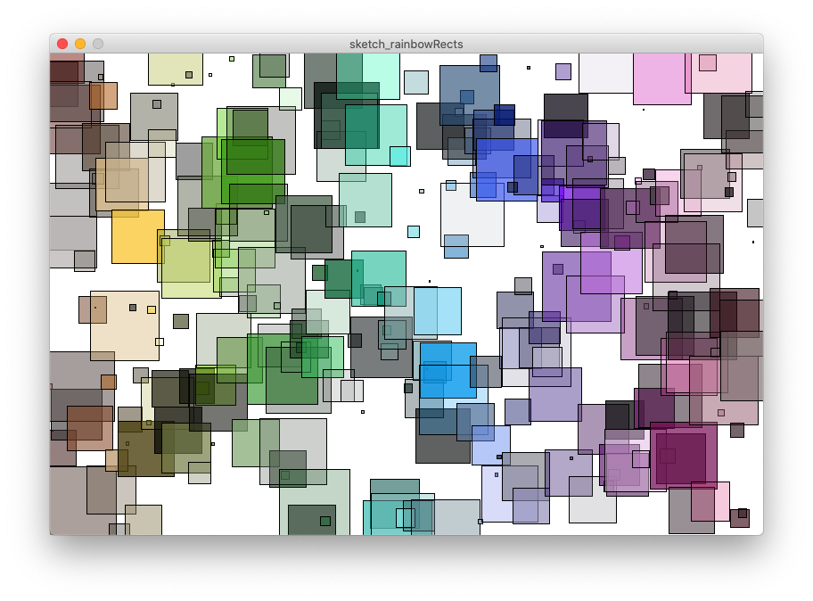 Rainbow rectangles, with hue, saturation, brightness and opacity randomised.