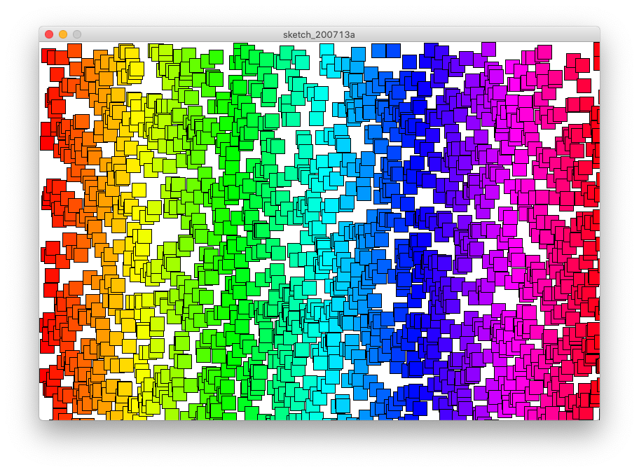 Spectrum of coloured rectangles, with random Y