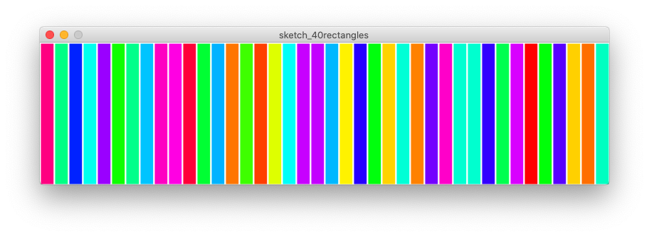 40 randomly coloured rectangles